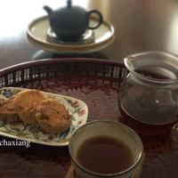 胡桃クッキーと普洱熟茶