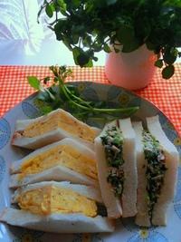 厚焼卵とクレソン&ツナのサンドイッチ