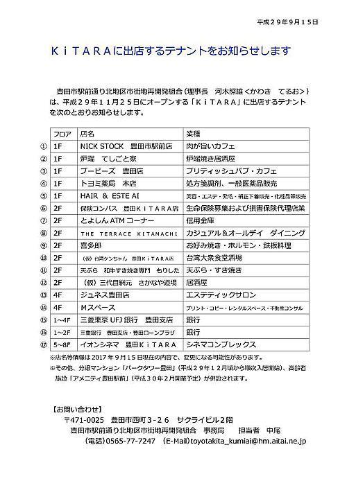 豊田市駅前北地区再開発ビルKiTARA(キタラ) テナント情報発表→オープンしました