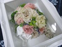 生花から作るプリザ・ブーケ風にBOXフレームで