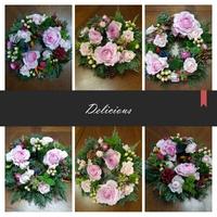 やさしいピンク系のお花でボリュームたっぷりリースアレンジレッスン1
