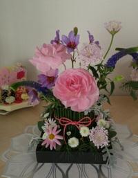 ピンクと紫のお雛様アレンジ~豊田市浄水町フラワー教室