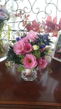トルコギキョウと秋のお花でフラワーレッスン
