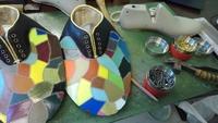 派手なカラフル革靴 オーダー作成中 岡崎市で革のワークショップなど 2018/11/15 08:09:37