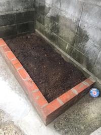 お盆あけ 平日の作業で完成 花壇 何を栽培しようかな?