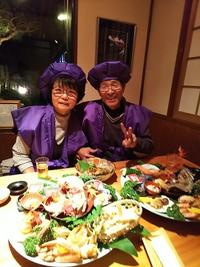 古稀の御祝い  ご夫婦で紫のちゃんちゃんこ