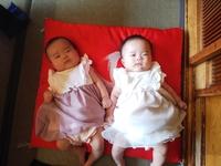 一卵性双子の赤ちゃん お食い初めの御祝い