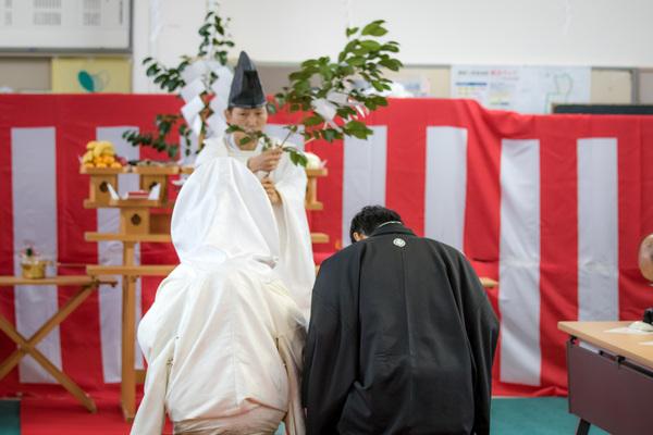 農家の手作り結婚式④区民会館での神前式