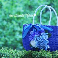 ブルー系天然石とお花のかごバッグ♡