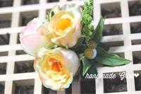 オレンジ系薔薇と天然石のコサージュ♡