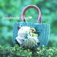 アンティーク調カラーのお花かごバッグ♡