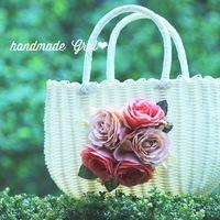 オレンジの大輪薔薇のかごバッグ♡