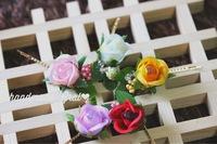 カラフル薔薇の天然石ヘアピン♡