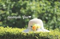 黄色いお花の天然石女優帽♡