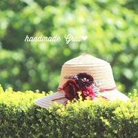 真っ赤なお花の天然石女優帽♡