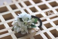 お花と天然石のリボンヘアゴム✨
