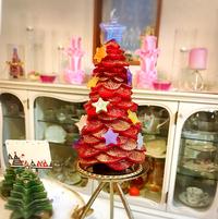 赤いきらきらクリスマスツリーキャンドル