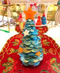 お友達とキラキラクリスマスツリーキャンドル