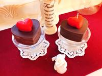 体験キャンドルをバレンタイン風にチョコレート