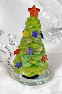 キラキラクリスマスツリーキャンドル