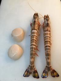 車海老、貝柱のフランス風(8000円のコースの魚料理)と車海老のクリーム煮(単品)