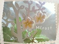 耳元で可愛い♡野イチゴの花の立体刺繍ピアス