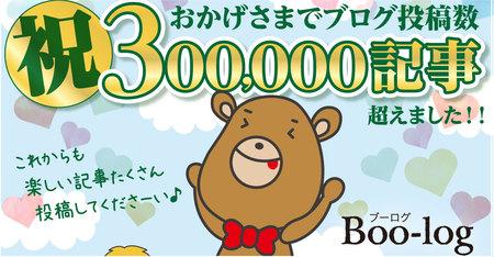 ブーログ30万記事突破、ありがとうございます。
