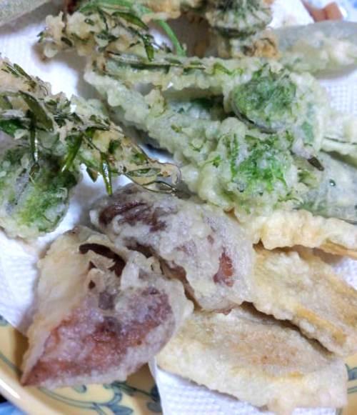 こごみ、土筆、烏野豌豆、椎茸、薩摩芋