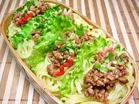 6月29日  ピリ辛そぼろのせ一口サラダ麺のお弁当☆ 2012/06/29 06:47:56