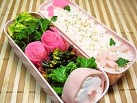 4月12日 春の味生海苔の玉子焼きとやたらとピンクなお弁当☆ 2012/04/12 08:54:34