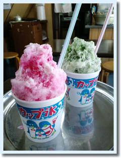 上坂商店さんの宇治金時ミルク&イチゴミルクのかき氷