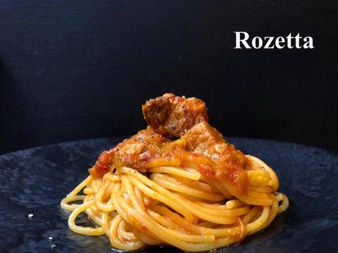 豚バラ肉とキャベツのトマト煮込み スパゲッティ
