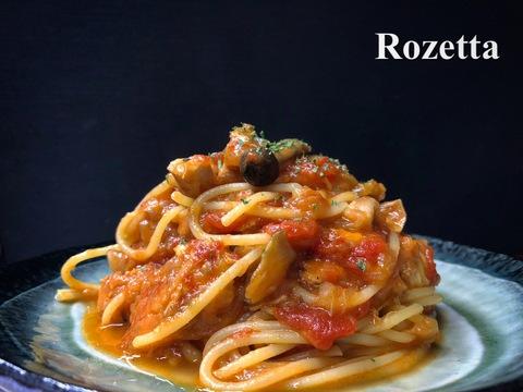 カジキマグロとキノコのトマトソース スパゲッティ