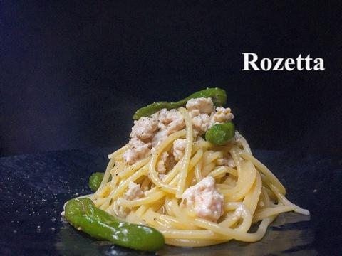 鶏ミンチとシシトウのオイル スパゲッティ