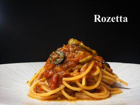オリーブとケッパーのトマト煮 スパゲッティ