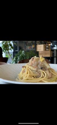 白菜とイカミンチのオイル スパゲッティ
