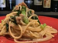 スルメイカと菜花のオイル スパゲッティ