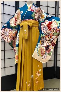 卒業式袴カタログ 青色花柄の着物&からし刺繍入袴