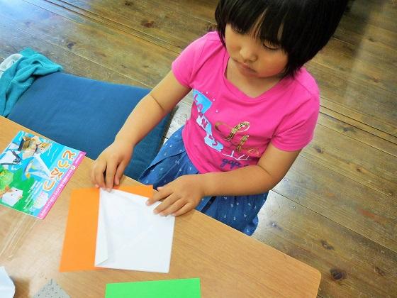 折り紙で「虫かご」作りinおかざき自然体験の森