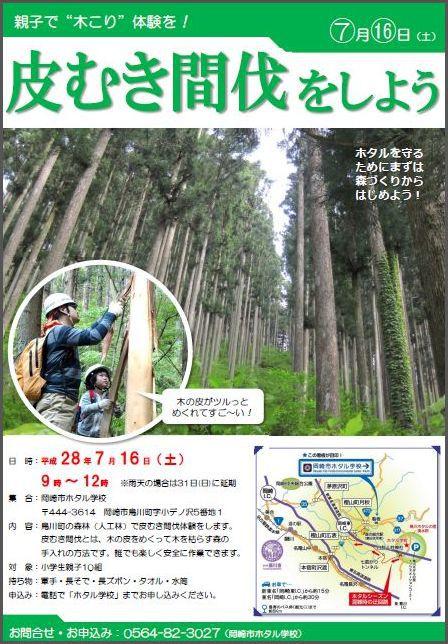【参加者募集中】 森を元気にしてホタルを守ろう!皮むき間伐体験