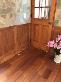 無垢の床材 チーク材をリビングや洗面所で 自由設計自然素材の家 岡崎市住宅会社スカイグラウンド