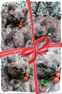 クリスマス生まれの猫つきがま口バッグ