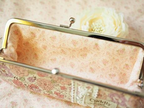 *YUWA花柄でがま口メガネ・ペンケース <ナチュラルピンク>