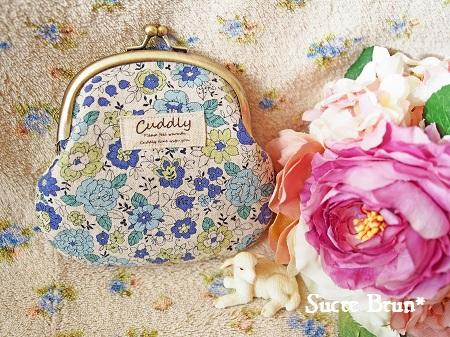 *YUWA花柄でがま口財布 <ナチュラルブルー>