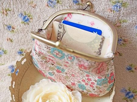 *YUWA花柄でがま口財布 <ナチュラルピンクブルー>