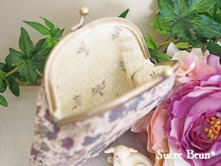 *YUWA花柄で がま口財布 <ナチュラルパープル>
