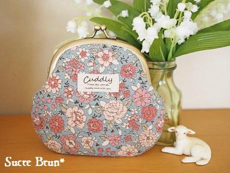 *YUWA花柄でがま口財布 <セピアブルー> と納品のお知らせ