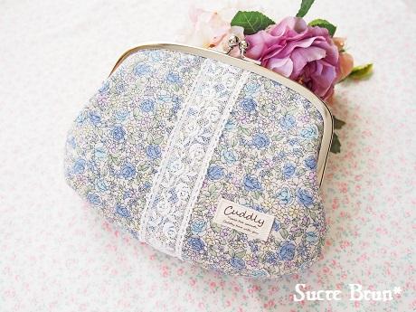*YUWA小花柄でがま口ポーチ <ブルー> と、納品のお知らせ
