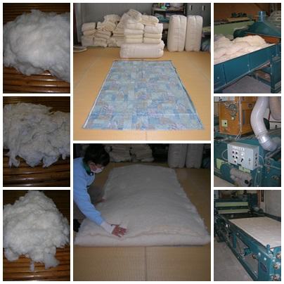 原綿からブレンドして、お布団を作ります