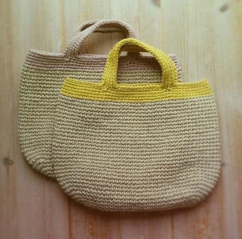 ネット編みで夏バッグ